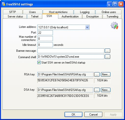 freeSSHd and freeFTPd - open source SSH and SFTP servers for Windows